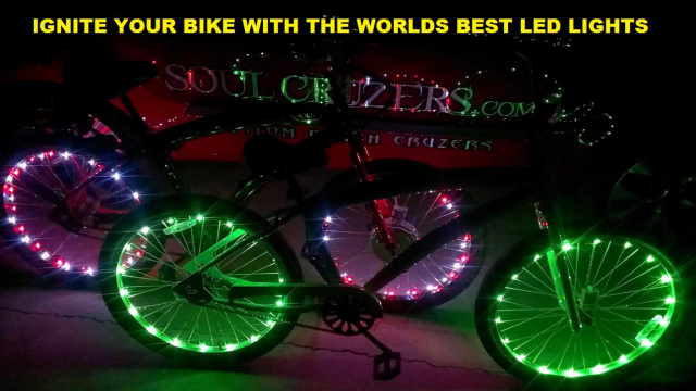 9a0573e3237 Call to Place LED Bicycle Rim Lights Red Blue Green Purple White Yellow  Disco Soul. Beach Cruiser Servicingss